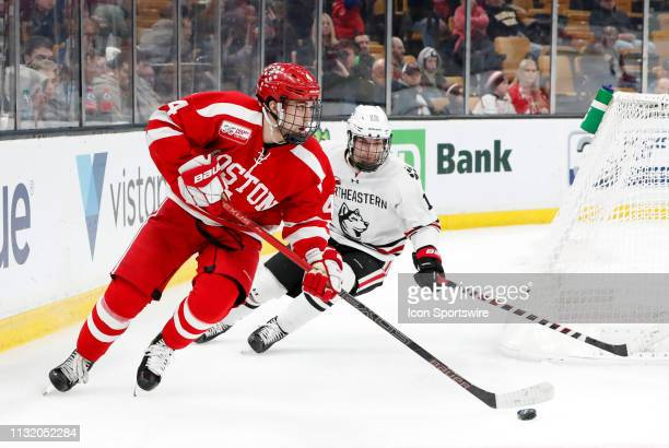 Boston University Terriers defenseman David Farrance starts up ice during a Hockey East semifinal game between the Boston University Terriers and the...