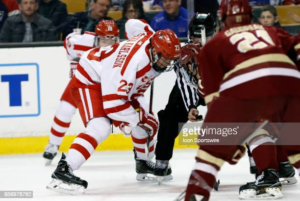 Boston University Terriers forward Jakob Forsbacka Karlsson moves in for the face off during a Hockey East semifinal between the Boston University...