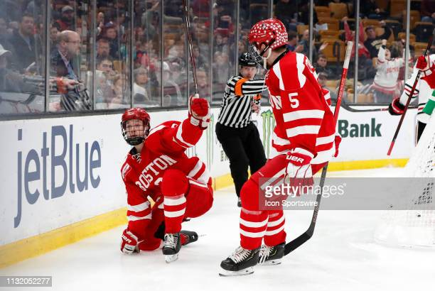 Boston University Terriers forward Ty Amonte celebrates his goal during a Hockey East semifinal game between the Boston University Terriers and the...