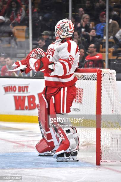 Boston University Terriers goaltender Jake Oettinger gets ready for the 3rd period to begin. During the Boston University Terriers game against the...