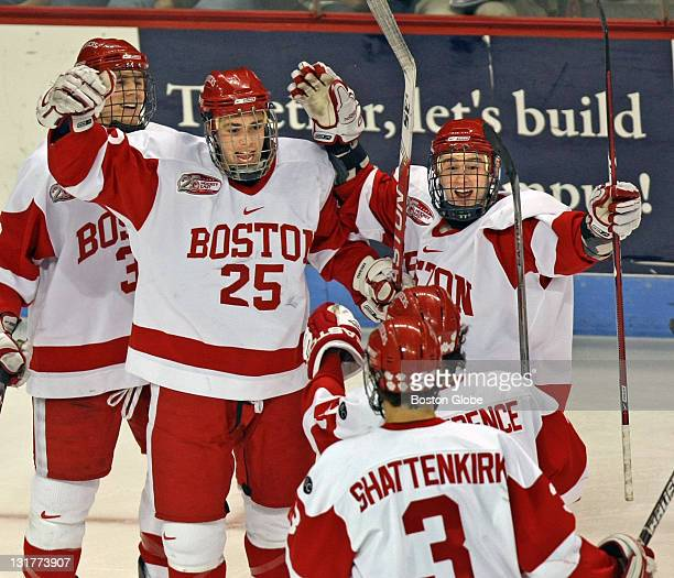 Boston University Terriers played Saturday evening January 17 2009 at Agganis Arena BU celebrates its second goal of the game during second period...