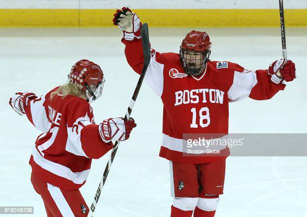 Boston University Terriers' Reagan Rust celebrates her goal with teammate Abby Cook during the second period Boston College faces Boston University...