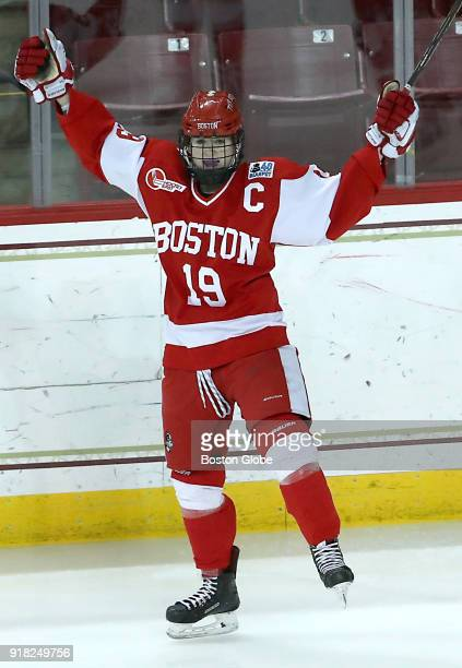 Boston University Terriers' Rebecca Leslie celebrates her goal during the second period Boston College faces Boston University in the women's Beanpot...