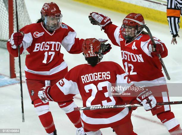 Boston University Terriers' Victoria Bach celebrates her goal with teammates Breanna Scarpaci and Nina Rodgers during the second period Boston...