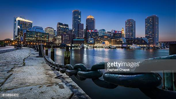 boston view from fan pier park - boston stock pictures, royalty-free photos & images