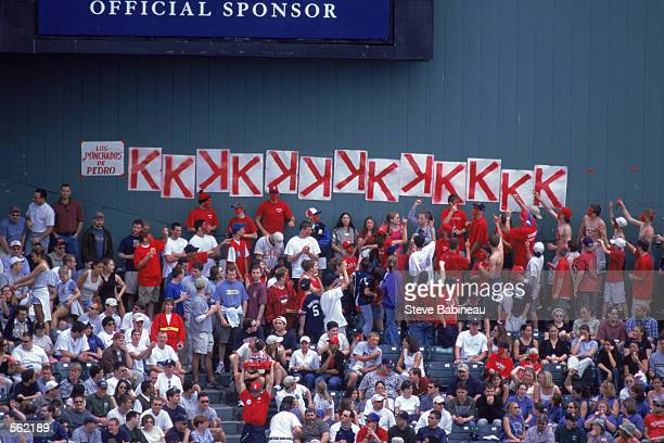 View of Red Sox fans of Pedro Martinez as they add to the Strike Out Signs on the stadium wall during the game against the Tampa Bay Devil Rays at...
