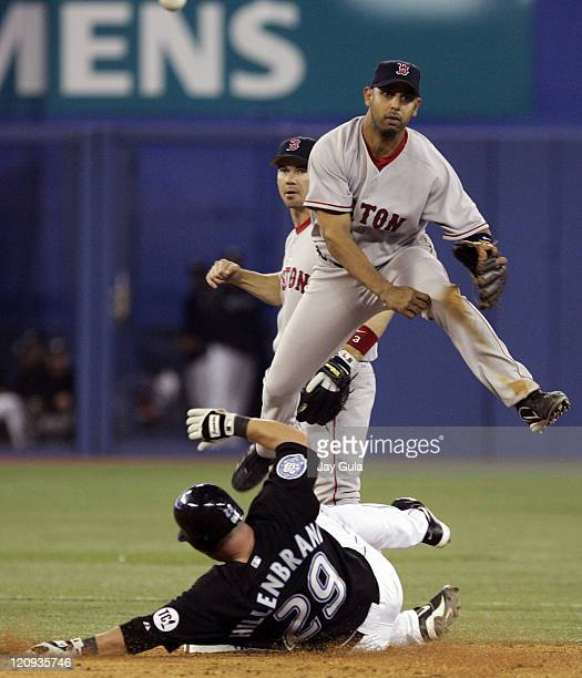 Boston's Alex Cora completes a doubleplay over a sliding Shea Hillenbrand of Toronto at Rogers Centre in Toronto Canada April 22 2006