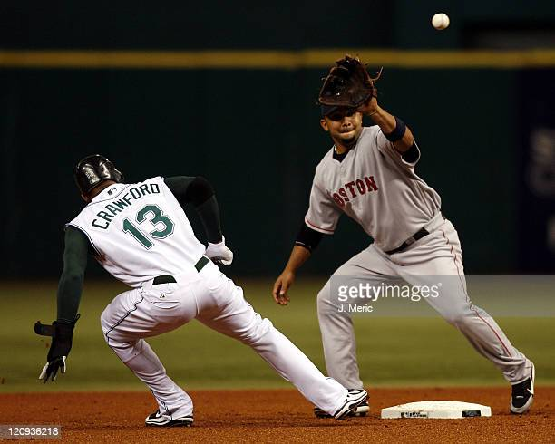 Boston's Alex Gonzalez prepares for the pick off throw as Tampa Bay's Carl Crawford slides safely back into second base during Friday night's action...