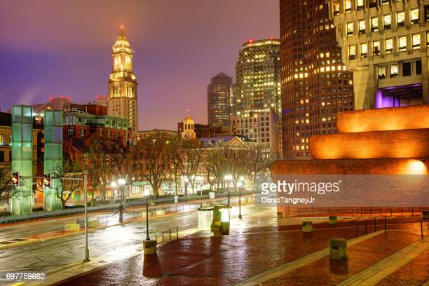 boston's custom house tower and faneuil hall - city hall plaza boston stock photos and pictures