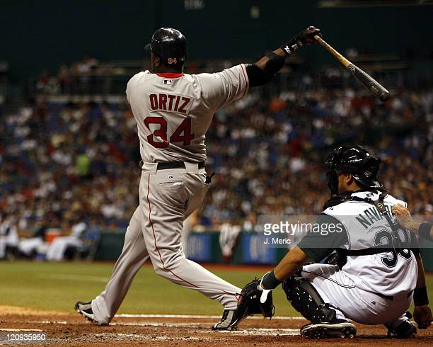 Boston's David Ortiz admires his home run during Tuesday's game against Tampa Bay at Tropicana Field in St Petersburg Florida on July 4 2006