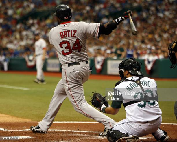 Boston's David Ortiz admires his homer in Tuesday's game against Tampa Bay at Tropicana Field in St Petersburg Florida on July 4 2006