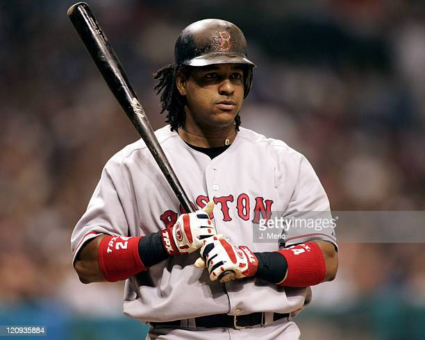 Boston's Manny Ramirez prepares to bat against the Tampa Bay Devil Rays in Monday night's game at Tropicana Field in St Petersburg Florida on July 25...