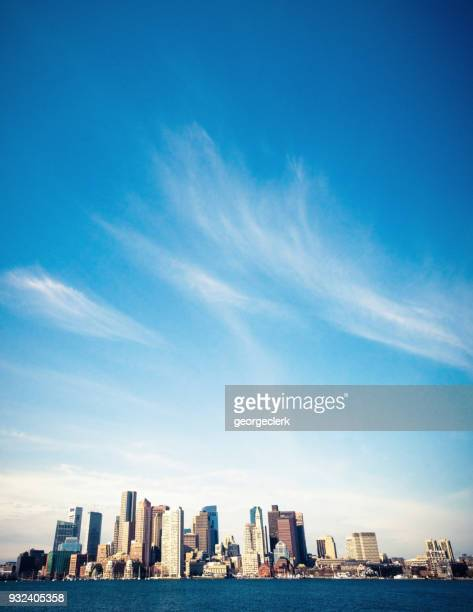 boston's skyline - blue stock pictures, royalty-free photos & images