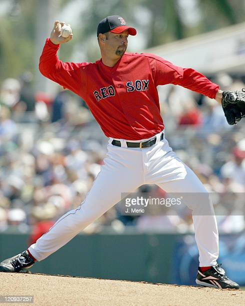 Boston's starting pitcher Tim Wakefield makes a pitch during Saturday's game against the Blue Jays at City of Palms Park in Ft Myers Florida on March...