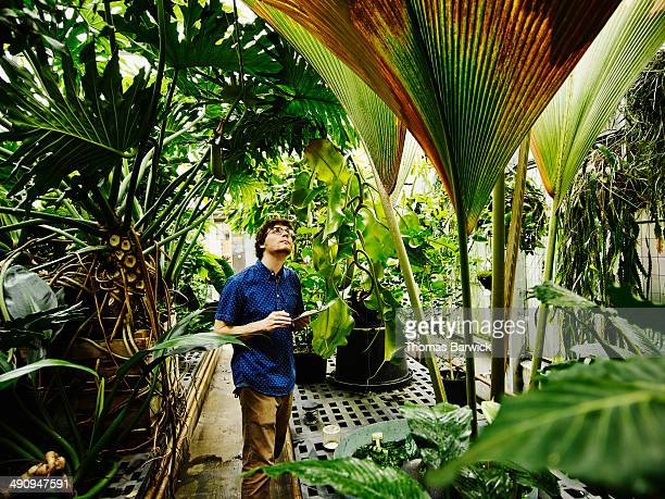 Botanist in greenhouse with digital tablet
