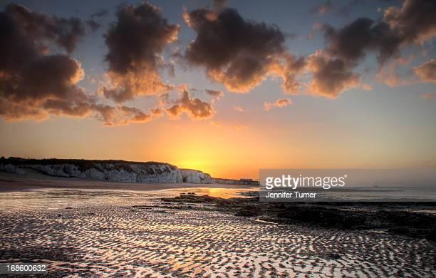 Botany Bay beach at sunset along the coast of East Kent