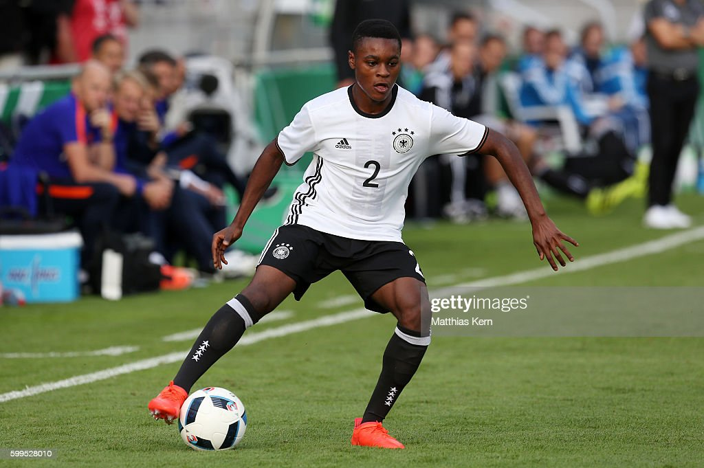Bote Nzuzi Baku of Germany runs with the ball during the international friendly match between U19 Germany and U19 Netherlands on September 5, 2016 in Luckenwalde, Germany.