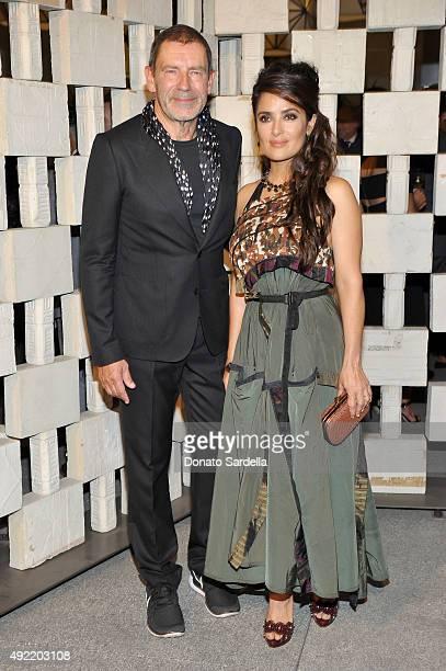 Botega Veneta Creative Director Tomas Maier and actress Salma Hayek, wearing Bottega Veneta, attend the Hammer Museum Gala in Garden sponsored by...