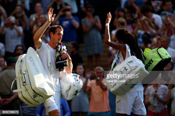 Both Andy Murray of Great and Dustin Brown of Germany acknowledge the crowd after their Gentlemen's Singles second round match on day three of the...
