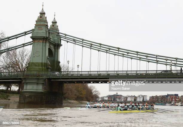 Both Cambridge University Women's Boat Club crews race under Hammersmith Bridge during The Cancer Research UK Boat Race Trial 8s on December 5 2017...