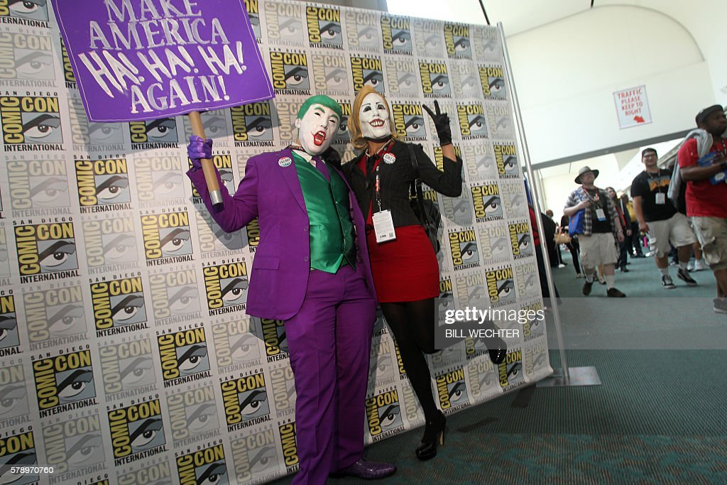 Both from Austin, Texas, Nick Mollberg plays Donald Trump and Auburn Rutledge plays Hillary Clinton during Comic-Con International 2016 in San Diego, California, July 22, 2016. / AFP / Bill Wechter
