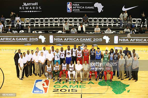 Both of Team World against Team Africa poses for a group photo during the NBA Africa Game 2015 as part of Basketball Without Boarders on August 1,...