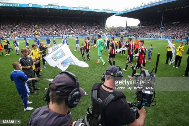 Both reams enter the pitch during the Sky Bet Championship match between Sheffield Wednesday and Sheffield United at Hillsborough on September 23...