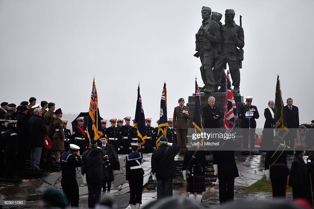 Both serving and former commandos gather during the Commando Memorial Service commemorate and pay respect to the sacrifice of service men and women who fought in the two World Wars and subsequent conflicts on November 13, 2016 in Spean Bridge, Scotland. People across the UK will gather to pay tribute to service personnel who have died during conflicts, as part of the annual Remembrance Sunday ceremonies.