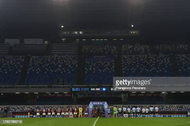 Both sets of teams line up ahead of the Serie A match between SSC Napoli and Torino FC at Stadio Diego Armando Maradona on December 23, 2020 in...