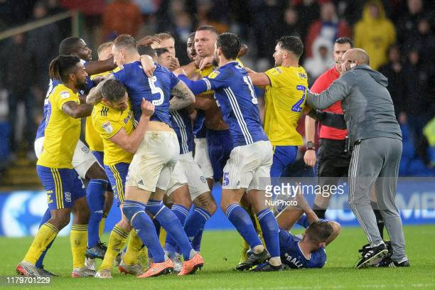 Both sides disagree and it ends in a red card for Harlee Dean of Birmingham City during the Sky Bet Championship match between Cardiff City and...