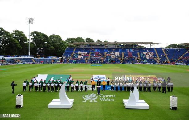 Both sides line up for the national anthems during the ICC Champions Trophy match between Sri Lanka and Pakistan at SWALEC Stadium on June 12 2017 in...