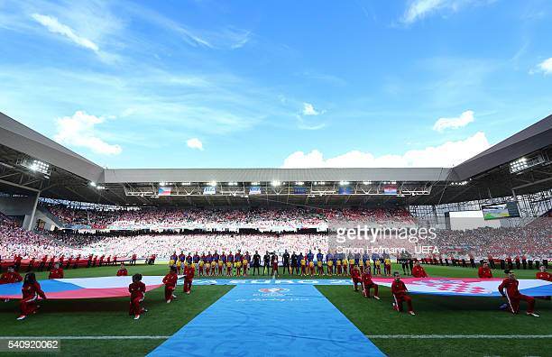 Both sides line up for the national anthems prior to the UEFA EURO 2016 Group D match between Czech Republic and Croatia at Stade GeoffroyGuichard on...