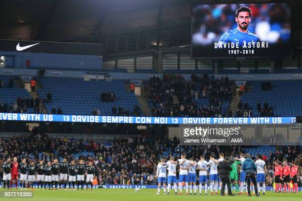 Both sides observe a minutes silence for Davide Astori during an International Friendly fixture between Italy and Argentina at Etihad Stadium on...