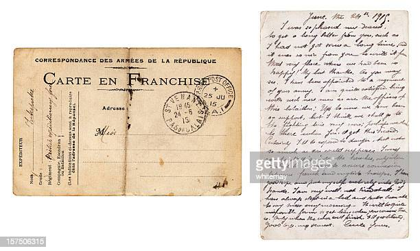 Both sides of British Army postcard sent from France, 1915