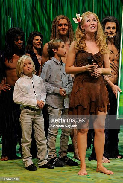 Both sons of Phil Collins Matthew Collins and Nickola Elisabeth Huebert and Alexander Klaws attend Tarzan Musical 3rd anniversary at Theatre 'Neue...