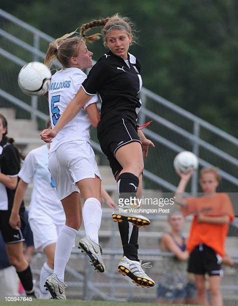 Both Stone Bridge's Sara Bowers [5] and Cosby's Kelsey Conyers go for the header as Stone Bridge HS takes on Cosby HS in the Virginia AAA Girls state...