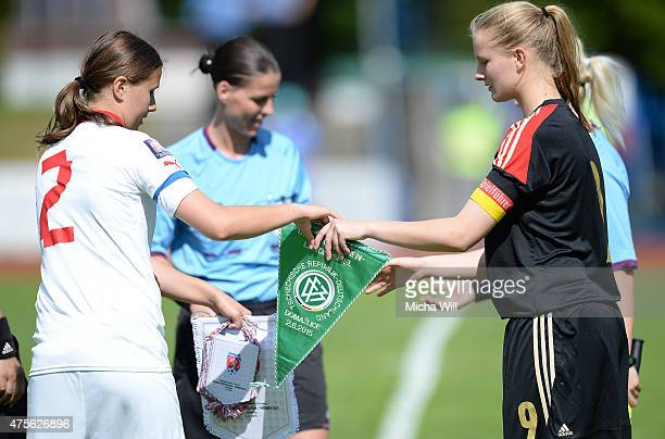 Both team captains exchange the pennants during the U15 Girl's International between Czech Republic and U15 Girl's Germany at Mestsky Stadion...