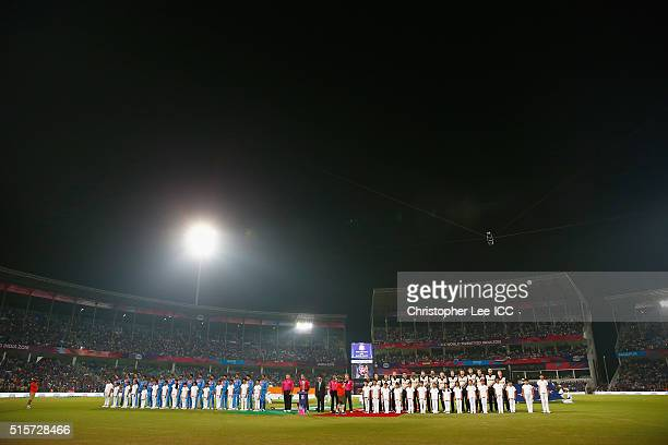 Both team stand for their national anthems during the ICC World Twenty20 India 2016 Group 2 match between New Zealand and India at the Vidarbha...