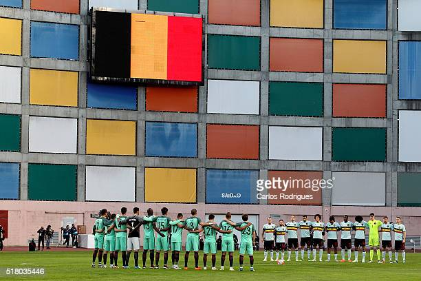 Both team take one minute of silence in memorial of the Bruxelles victims during the match between Portugal and BelgiumFriendly International at...