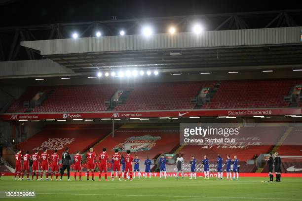 Both teams and Officials stand for a minute's applause in memory of former Liverpool player, Ian St John who recently passed away prior to the...