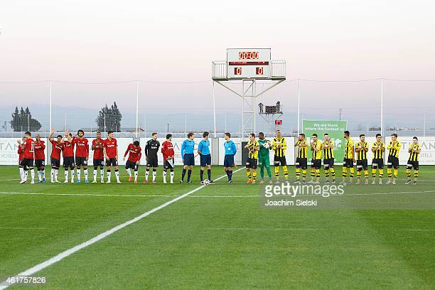 Both Teams and the Referees Daniel Schlager Matthias Joellenbeck Tobias Reichel during a friendly match between Young Boys Bern and Hannover 96 on...