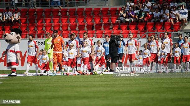 Both teams arrive for the Third League match between Jahn Regensburg and VfR Aalen at Continental Arena on August 27 2016 in Regensburg Germany