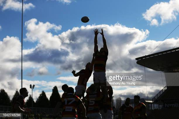 Both teams compete at the lineout during the round seven Mitre 10 Cup match between Waikato and Southland at FMG Stadium on September 29, 2018 in...