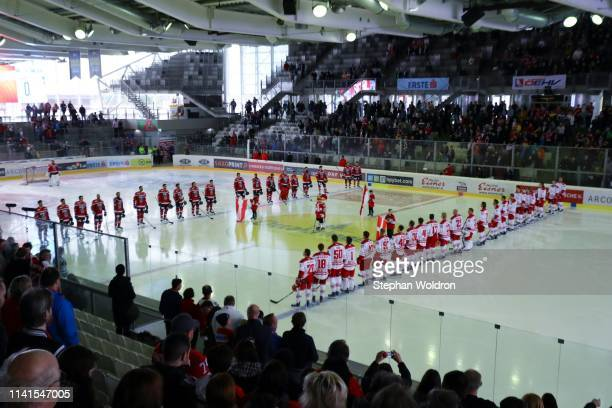 Both teams during the Austria v Denmark - Ice Hockey International Friendly at Erste Bank Arena on May 5, 2019 in Vienna, Austria.