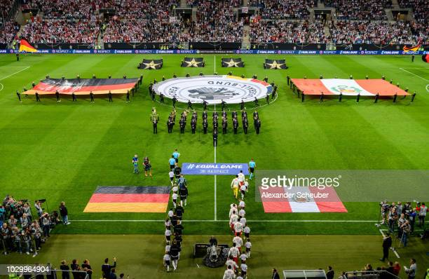 Both teams enter the pitch during the International Friendly match between Germany and Peru on September 9 2018 in Sinsheim Germany