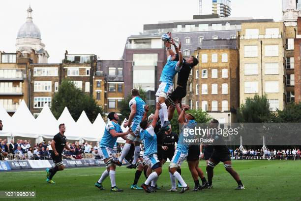 Both teams in action during the line out during the match between Saracens and Ospreys at Honourable Artillery Company on August 23 2018 in London...