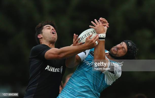 Both teams in action during the match between Saracens and Ospreys at Honourable Artillery Company on August 23 2018 in London England