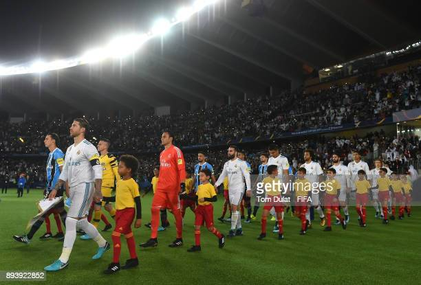 Both teams leave the tunnel prior to the FIFA Club World Cup UAE 2017 final match between Gremio and Real Madrid at Zayed Sports City Stadium on...