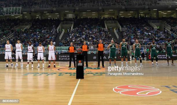 Both teams line up before the tipoff of the 2017/2018 Turkish Airlines EuroLeague Regular Season Round 2 game between Panathinaikos Superfoods Athens...