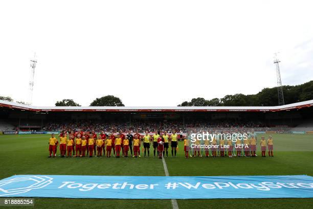 Both teams line up during the UEFA Women's Euro 2017 Group D match between Spain and Portugal at Stadion De Vijverberg on July 19 2017 in Doetinchem...